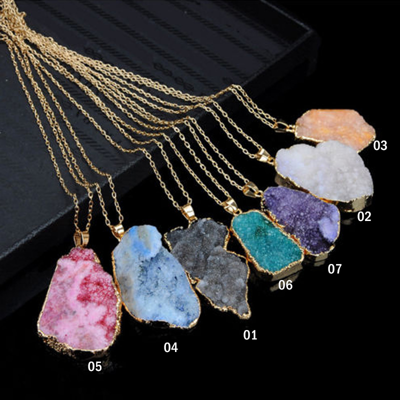 1Pc Natural Crystal Quartz Healing Point Chakra Bead Gemstone Necklace Pendant
