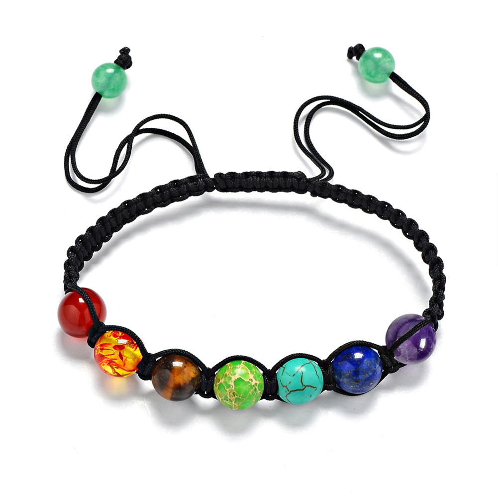 7 Chakra Healing Yoga Reiki Prayer Stones Balance Beaded Bracelet Braided Bangle Jewelry Gift