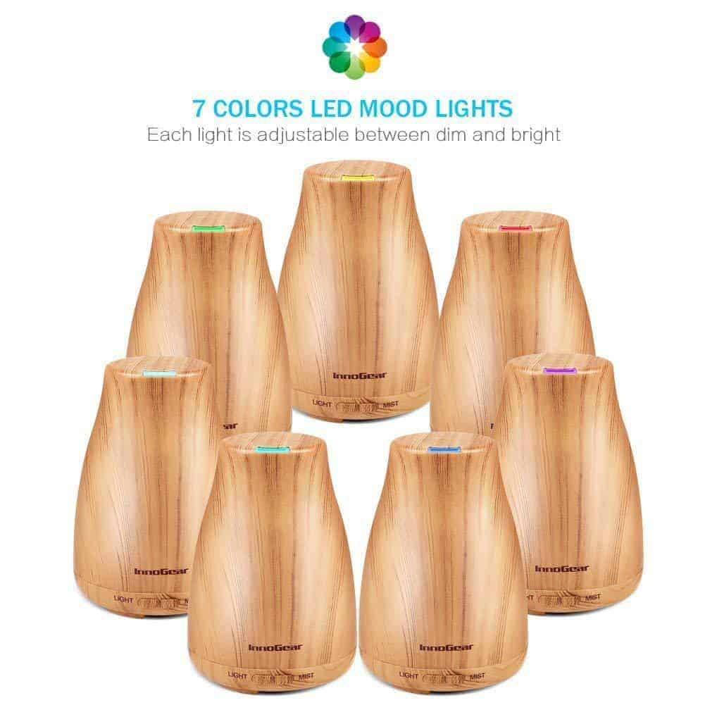 The InnoGear Cool Mist Essential Oil Diffuser is guaranteed to give 100% satisfaction! Make your home smell better with its advanced ultrasonic vaporizing technology as the diffusers aromatherapy health benefits add moisture to the air.  This helps you sleep better, cough less and alleviates any issues with dry sinus.