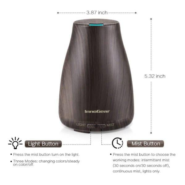 Cool Mist Essential Oil Diffuser wood grain