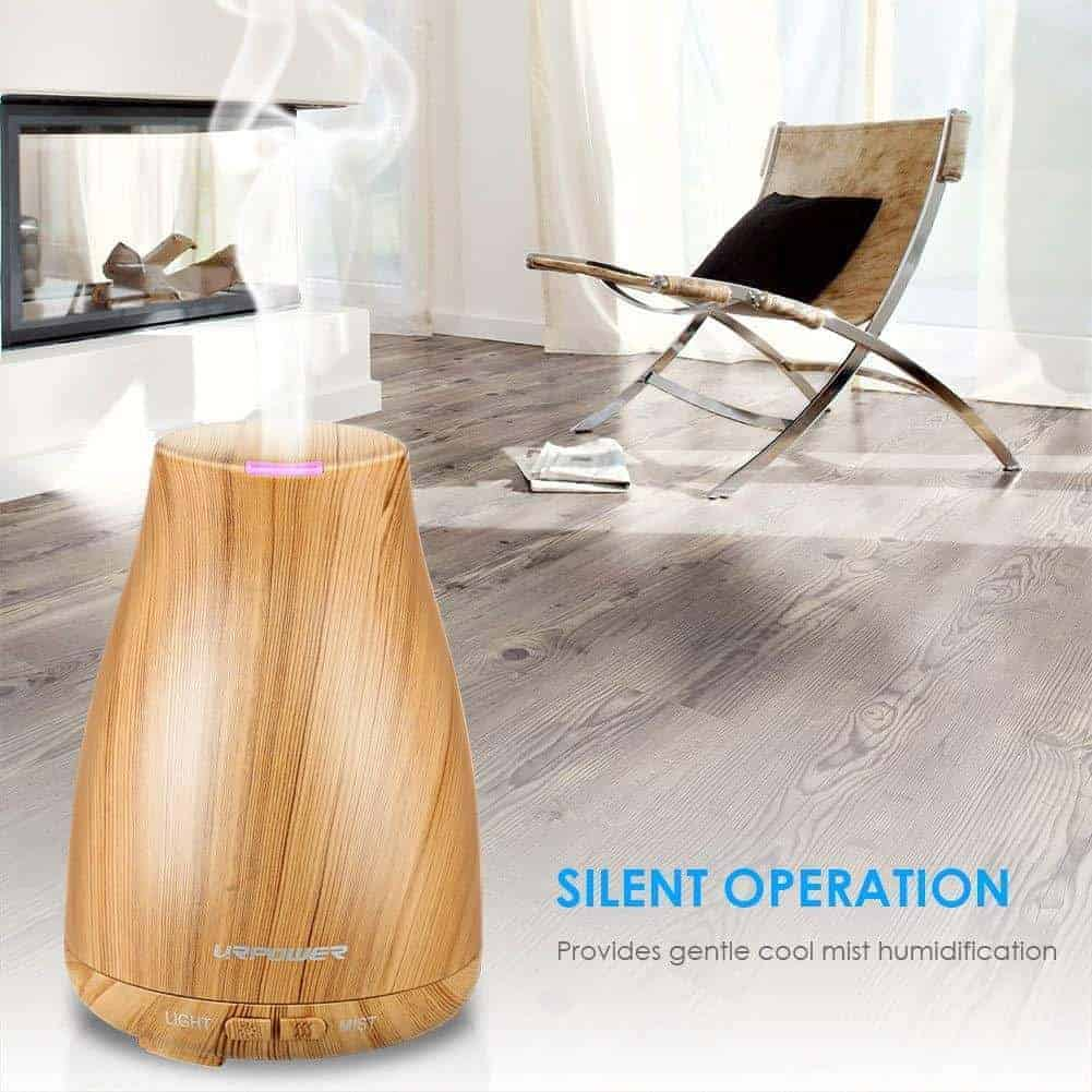 The URPOWER 2nd Version Essential Oil Diffuser is elegant and easy to use.  Using 100ml of water and just a few drops of essential oil you can benefit from the healing benefits of aromatherapy.  The advanced ultrasonic vapor diffusion technology releases soothing fragrant mist for up to 6 hours. Comes with an automatic shut off for your safety system.