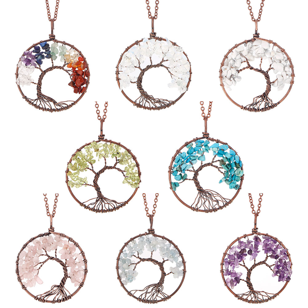 Natural Healing Chakra Crystal Stone Life Tree Necklace Amethyst Tumbled Gemstone Wrapped Pendant Chain Jewelry