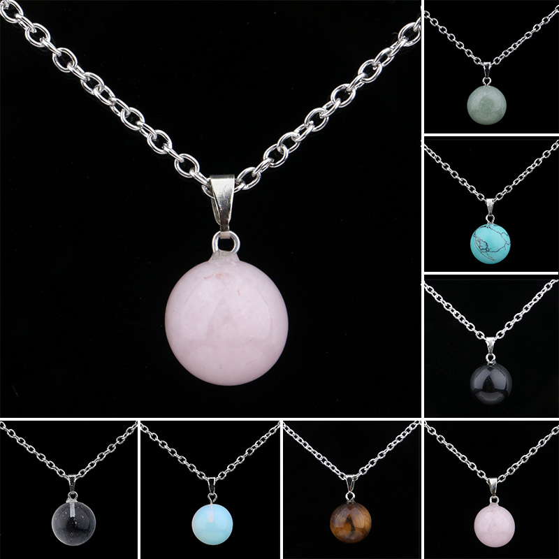 New Natural Stone Quartz Crystal Round Pendant Chakra Point Healing Gem Necklace