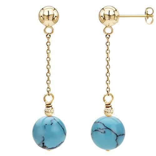 14k yellow gold 12mm simulated blue turquiose with sparkling bead dangle stud