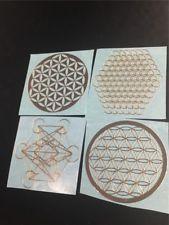 4pcs Quartz Crystal Mtetal Energy Sticker FLOWER OF LIFE METATRONS CUBE CHAKRAS