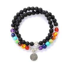 7Chakras Natural Stone Bracelet Tree Of Life Pendant Fashion Jewelry 6MM Beads