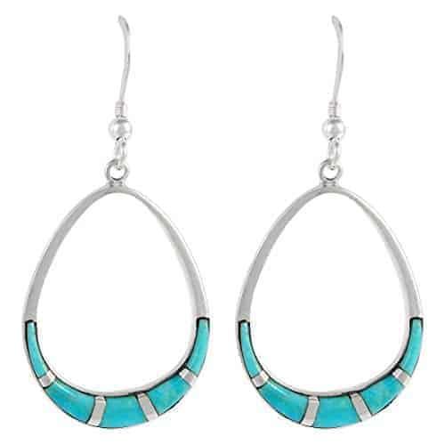 925 sterling silver earrings genuine turquoise pear shape drop dangles