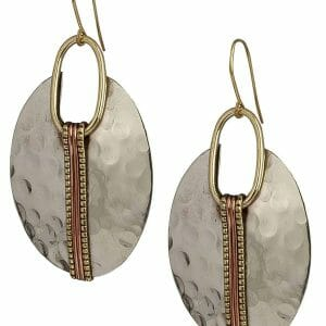 Boho Oval Silver Ethnic Hammered Earring for Women