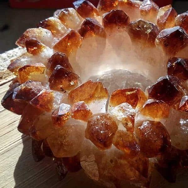 Citrine Crystal Gemstone Tea Light Candle