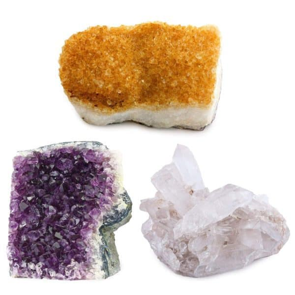 Natural Amethyst, Citrine, Crystal Quartz Clusters from Brazil