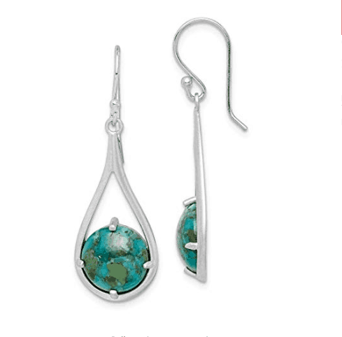 Turquoise Shepherd Hook Earrings, Sterling Silver (Fine Jewelry, Fine Gift)