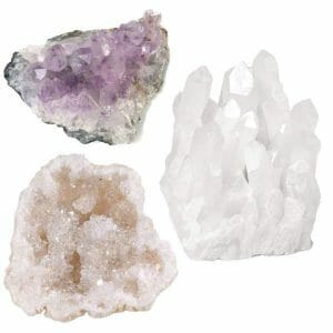 Natural Amethyst Cluster, Clear Rock Quartz Cluster And Quartz Geode