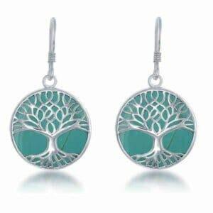 Turquoise Tree Of Life Earrings