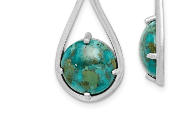 Turquoise Shepherd Hook Earrings Side and front view
