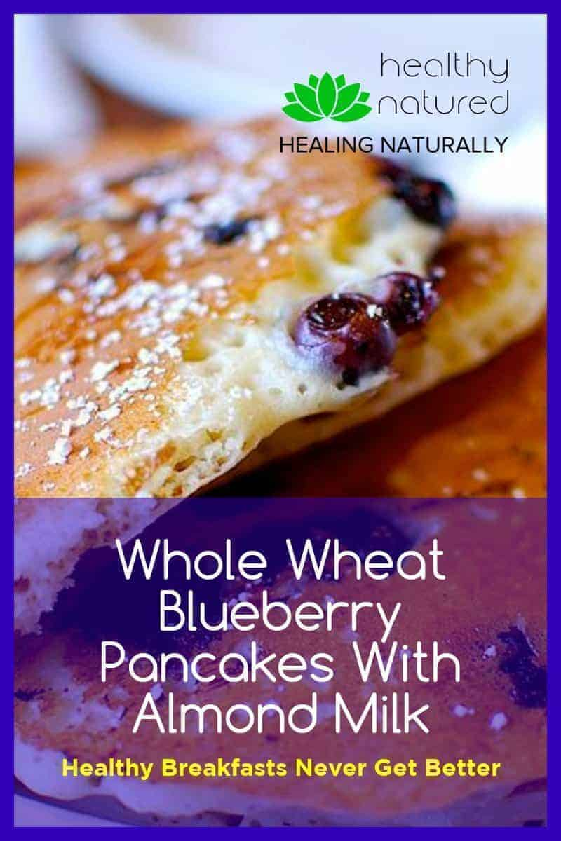 We all know that blueberry pancakes are a tasty terrific treat when blueberries are in season. But don\'t stop enjoying them when the sun goes away.  I make these whole wheat blueberry pancakes with almond milk with frozen berries.  They are wonderful. A wonderful way to make these breakfast beauties a year-round treat.