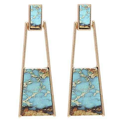 Bonaluna Bohemian Wood And Marble Effect Oblong Shaped Drop Statement Earrings