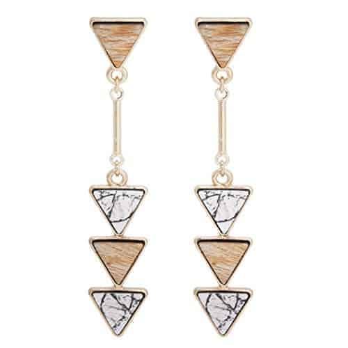bonaluna bohemian wood and marble effect triangle drop statement earrings 1