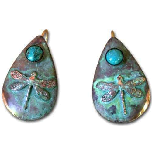 dragonfly teardrop earring genuine turquoise by elaine coyne