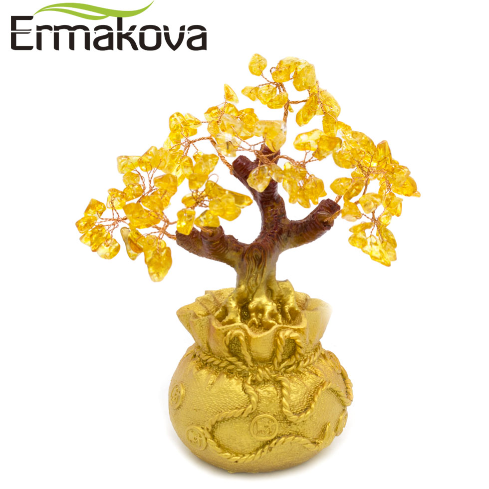 ERMAKOVA Feng Shui Wealth Crystal Money Tree Bonsai Style for Wealth Luck Home Shop Decor Birthday Business Gift(Yellow)