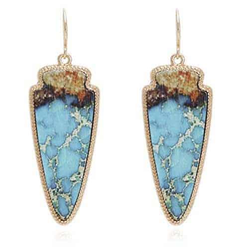 Marble Effect On Recycled Wood Arrowhead Shape Drop Statement Earrings