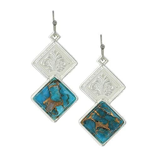 Montana Silversmiths Double Diamond Turquoise Earrings Er3275Tq