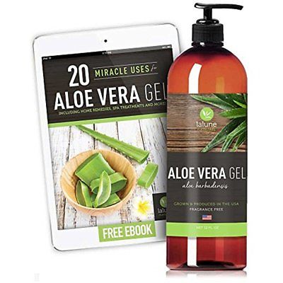 Pure Aloe Vera Gel Organic for Face, Hair, Skin Sun Burn Acne Treatment 12 oz