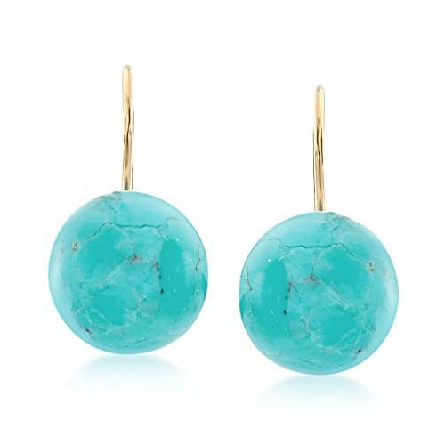 ross simons button turquoise drop earrings in 14kt yellow gold