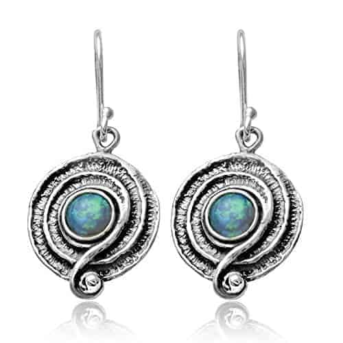 round swirl created blue fire opal 925 sterling silver dangle earrings with