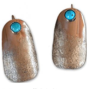 Silk Textured Turquoise Rounded Barrel Earrings.