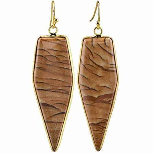 Sunyik Womens Picture Jasper Healing Point Dangle Earrings