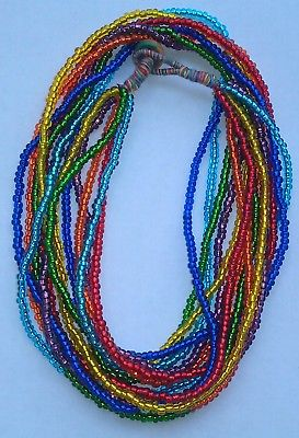 The 7 Chakras Glass Seed Bead Necklace 17 inches in length