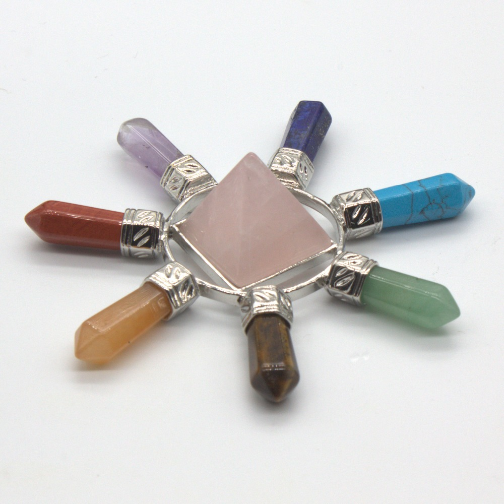 Trendy-beads Silver Plated Rose Pink Quartz Pyramid 7 Hexagon Column Stone Chakra Energy Transmitter Pendant