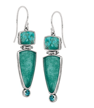 Turquoise Quartzite Drop Earrings With Swarovski Crystals In Silver