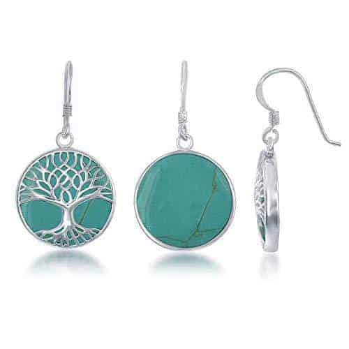 Natural Turquoise Tree Of Life Sterling Silver Circle Dangle Earrings