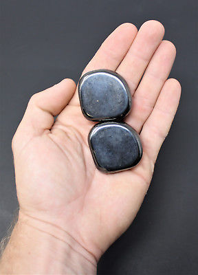 2 (Two) Large MAGNETIC Hematite Tumbled Stone (Crystal Healing, Shiny Magnet)