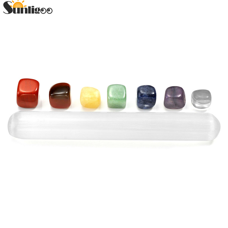 Sunligoo 7 Chakra Healing Crystals Stones Kit Irregular Shape Tumbled Palm Stones & Polished Large Selenite Stick Massage Point