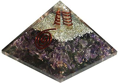 Natural Organite Amethyst Orgone Pyramid Energy Generator Spiritual Reiki Chakra