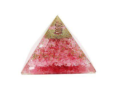 Rose Quartz Stone Orgonite Pyramid Energy Generator Reiki Orgone Healing Crystal