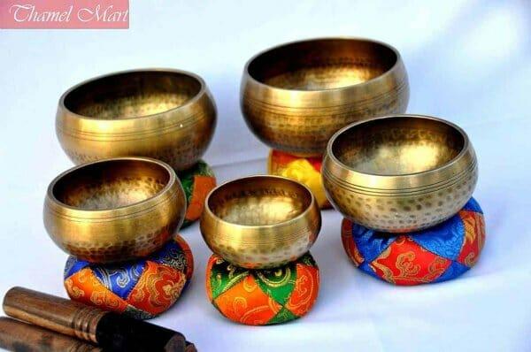 5 Hand Hammered Singing Bowls
