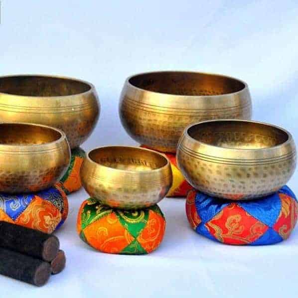 5 hand hammered singing bowls