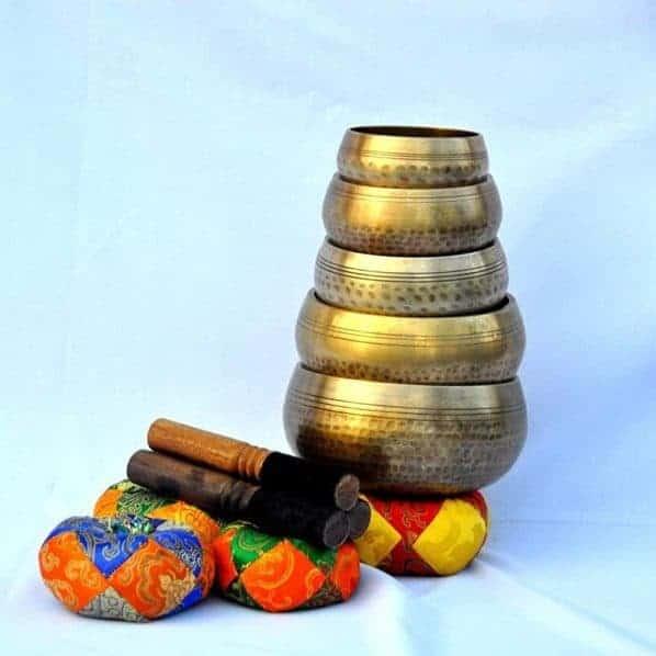 Set Of 5 Hand Hammered Singing Bowls (Tibetan Healing Bowls)