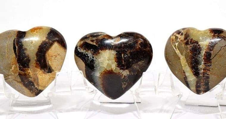 Septarian Dragon Stone Heart Pair - Polished Calcite/Aragonite Gemstone