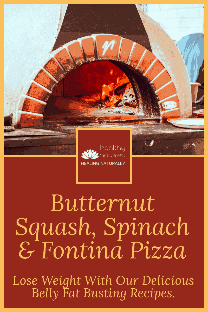Nutritious, Delicious and sure to please the fussiest of pizza aficionados!  Our healthy butternut squash pizza with spinach and fontina is a winner. #burnbellyfat #healthy