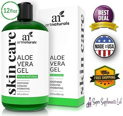 ORGANIC ALOE VERA GEL 12 Oz Face Hair Sunburn Versatile Skin Care Moisturizer