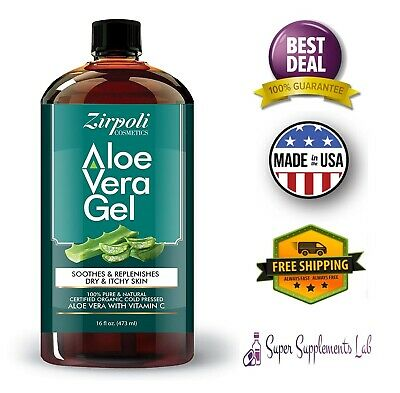 ORGANIC ALOE VERA GEL 16 Oz Face Hair Sunburn Versatile Skin Care Moisturizer