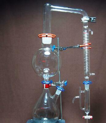 2000ml Essential Oil Steam Distillation Kit Lab Apparatus Graham Condenser
