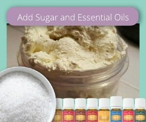 add sugar and essential oils