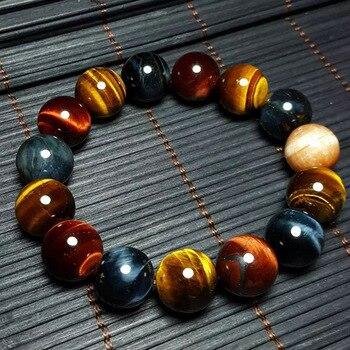 JoursNeige Natural Tiger Eye Bracelet 14mm Beads Jewelry Accessories Multi Color Tiger Eye Stone Men Women Bracelet