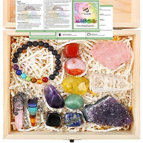 pp opount 13 pieces healing crystals set chakra stones kit include
