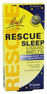 Bach Flower Essences Rescue Remedy Sleep Liquid Melts, 28 Caps Natural Sleep Aid
